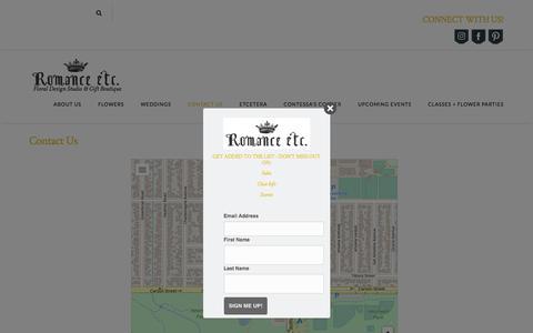 Screenshot of Contact Page romance-etc.com - Contact Us – Romance Etc. - captured Sept. 21, 2018