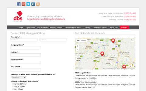 Screenshot of Contact Page dbs-centres.co.uk - Contact DBS Managed Offices & DBS Serviced Apartments - captured Oct. 13, 2017