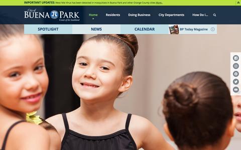 Screenshot of Home Page buenapark.com - City of Buena Park, CA : Home - captured Nov. 6, 2016
