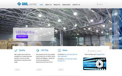 Screenshot of Home Page bmllighting.com - BML LED Lighting : LED T8 tubes ; LED High Bay ; LED Street LightBML Lighting - captured Oct. 4, 2014