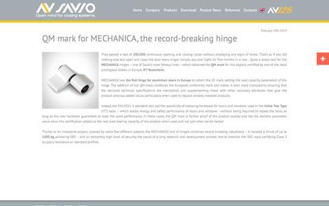 Screenshot of Press Page savio.it - QM mark for MECHANICA, the record-breaking hinge - captured Oct. 3, 2014