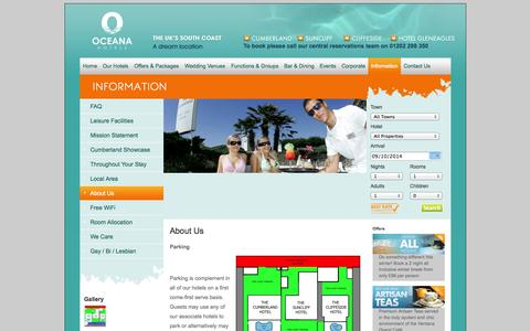 Screenshot of About Page oceanahotels.co.uk - General Information   Oceana Hotels in Bournemouth & Torquay - captured Oct. 9, 2014