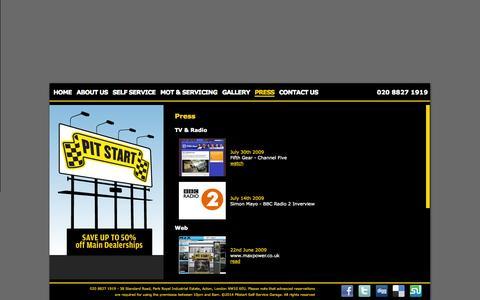 Screenshot of Press Page pitstartgarage.com - Pit Start - Press - captured Oct. 2, 2014