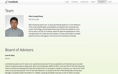 Screenshot of Team Page trustlook.com - About Team - Trustlook - captured Sept. 25, 2014