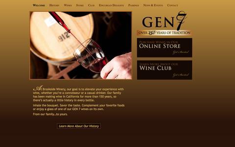 Screenshot of About Page gen7wines.com - Brookside Winery, LLC/ Gen7 Wines - captured Sept. 26, 2014