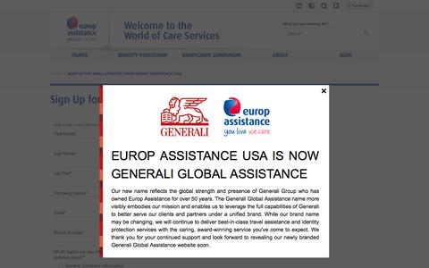 Screenshot of Signup Page europassistance-usa.com - Sign Up for Email Updates from Europ Assistance USA - Europ Assistance - captured July 16, 2016