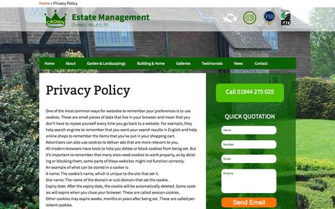 Screenshot of Privacy Page crownestatemanagement.co.uk - Privacy Policy   Crown Estate Management - captured Oct. 28, 2014