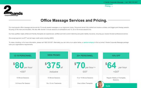 Screenshot of Pricing Page 2handsmassage.com.au - Office Massage Pricing - Get a Quote For Your Team Today. Click Here - captured Nov. 13, 2018