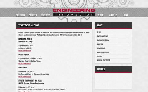 Screenshot of About Page eii-online.com - Engineering Innovation - Yearly Event Calendar - captured Oct. 2, 2014
