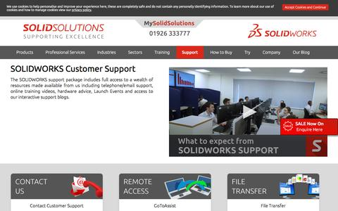 Screenshot of Support Page solidsolutions.co.uk - SOLIDWORKS Technical Support | Solid Solutions - captured Nov. 6, 2019