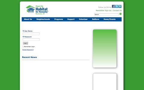Screenshot of Login Page rochesterhabitat.org - User Log In - captured Oct. 6, 2014