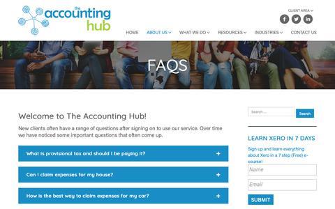 Screenshot of FAQ Page theaccountinghub.co.nz - FAQs on Accounting & Taxation | The Accounting Hub, Auckland - captured Oct. 20, 2018