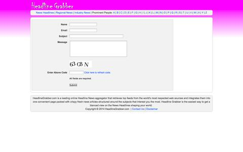 Screenshot of Contact Page headlinegrabber.org - Contact Us * - captured Oct. 30, 2014