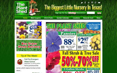Screenshot of Home Page plant-shed.com - Plant Shed - captured Oct. 9, 2014