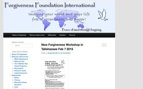 Screenshot of Blog forgivenessfoundation.org - Forgiveness Foundation International   Blog - captured Jan. 8, 2016