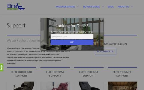 Screenshot of Support Page elitemassagechairs.com - Elite Massage Chair Technical Support - captured July 12, 2016