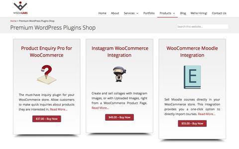 Screenshot of Products Page wisdmlabs.com - Premium WordPress Plugins - captured Nov. 23, 2015
