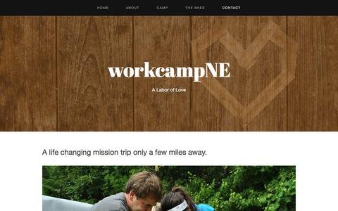 Screenshot of Contact Page workcampne.com - Contact — workcampNE - captured Oct. 7, 2014