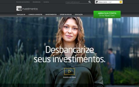 Screenshot of Home Page xpi.com.br - P‡gina inicial   XP Investimentos - captured Jan. 14, 2016