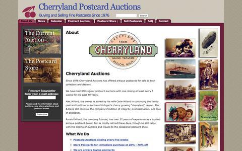 Screenshot of About Page cherrylandpostcards.com - Cherryland Auctions - About Cherryland Auctions - captured June 15, 2016