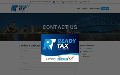 Screenshot of Contact Page readytax.com.au - Contact Us - ReadyTax - captured Dec. 10, 2018