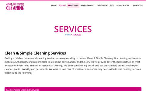 Screenshot of Services Page cleanandsimplecleaning.com - Housekeeping Agency - Professional Maid Services in Lynnwood - captured July 19, 2018