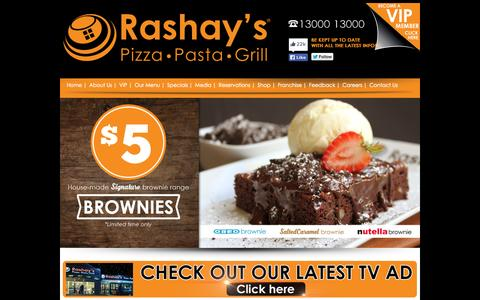 Screenshot of Home Page rashays.com - Rashay's Pizza Pasta Grill Restaurant - Sydney Australia - captured June 21, 2015
