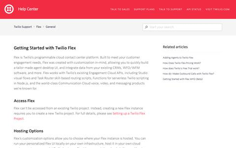 Screenshot of Support Page twilio.com - Getting Started with Twilio Flex – Twilio Support - captured June 13, 2019