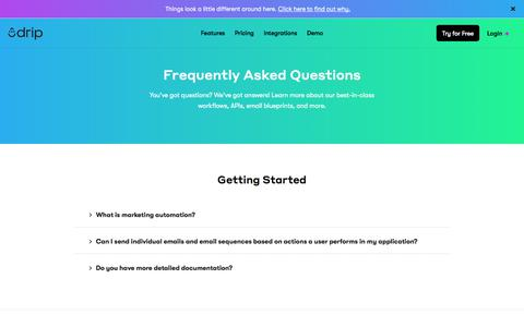 Screenshot of FAQ Page drip.com - Drip FAQ - Frequently Asked Questions & Answers - captured Jan. 17, 2018