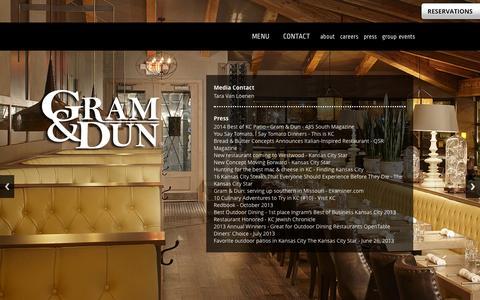 Screenshot of Press Page gramanddun.com - Gram & Dun | Press. Media. News. Best Of. - captured Oct. 3, 2014