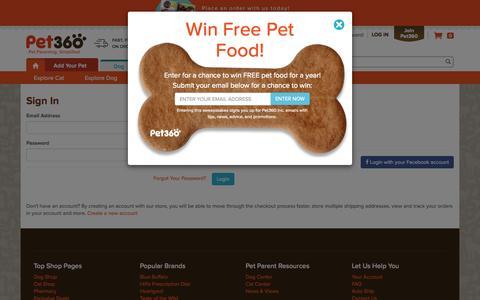 Screenshot of Login Page pet360.com - Customer Login - captured Nov. 10, 2015