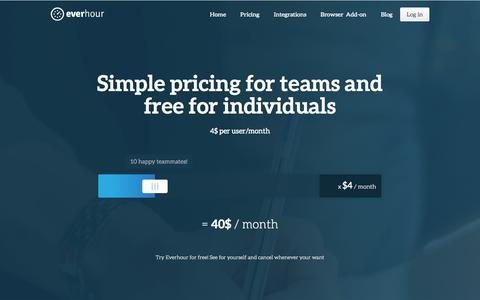 Screenshot of Pricing Page everhour.com - Try Everhour for Free - captured Sept. 19, 2014