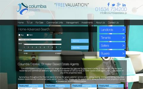 Screenshot of Home Page columbiaestates.je - Columbia Estates; Estate Agents in Jersey, Channel Islands; Properties To Let & For Sale - captured Jan. 30, 2016
