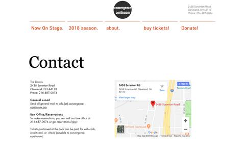 Screenshot of Contact Page convergence-continuum.org - convergence-continuum | Contact - captured Nov. 5, 2018