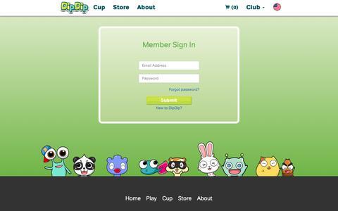 Screenshot of Login Page dipdip.com - www.DipDip.com - captured June 26, 2016