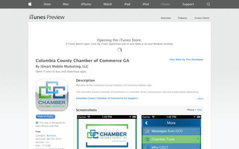 Screenshot of iOS App Page apple.com - Columbia County Chamber of Commerce GA on the App Store on iTunes - captured Oct. 22, 2014