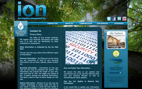 Screenshot of Privacy Page ionirrigation.com - ion irrigation management inc. - Contact ION: Privacy Policy - captured Oct. 15, 2017