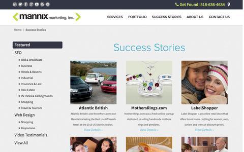 Screenshot of Case Studies Page mannixmarketing.com - Success Stories   Mannix Marketing, Inc. - captured Sept. 23, 2014