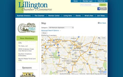 Screenshot of Maps & Directions Page lillingtonchamber.org - Map - Lillington Chamber of Commerce - NC - captured Oct. 3, 2014