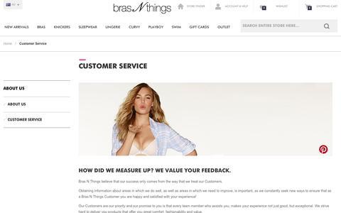 Screenshot of Support Page brasnthings.com - Customer Care Online at Bras N Things Australia - captured Jan. 7, 2016