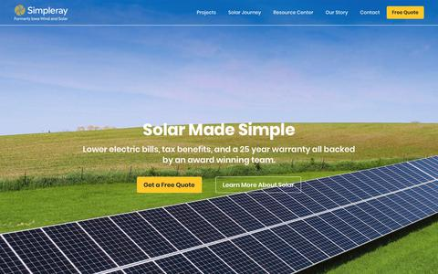Screenshot of Home Page simpleray.com - Simpleray I Formerly Iowa Wind and Solar - captured Oct. 12, 2018