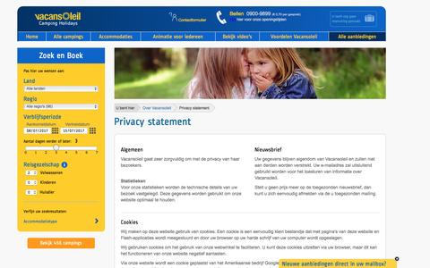 Screenshot of Privacy Page vacansoleil.nl - Privacy statement, privacy verklaring - Vacansoleil - captured Dec. 4, 2016