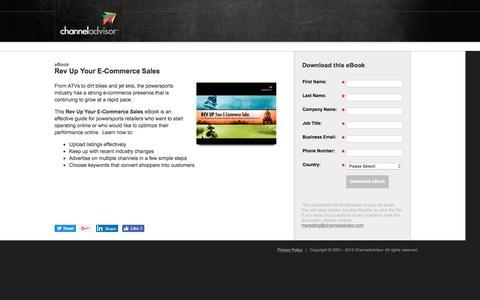 Screenshot of Landing Page channeladvisor.com - Rev Up Your E-Commerce Sales | ChannelAdvisor - captured Sept. 25, 2016