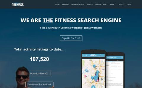 Screenshot of Home Page gritness.com - Gritness   Group fitness from start to finish. - captured Sept. 16, 2014