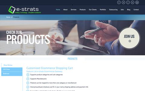 Screenshot of Products Page estratcom.com - E Commerce Hosting and Shopping Carts: Web Services - captured Jan. 22, 2016