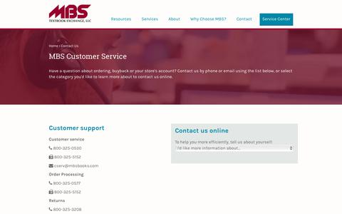 Screenshot of Contact Page Support Page mbsbooks.com - MBS Textbook Exchange, LLC - captured April 14, 2018
