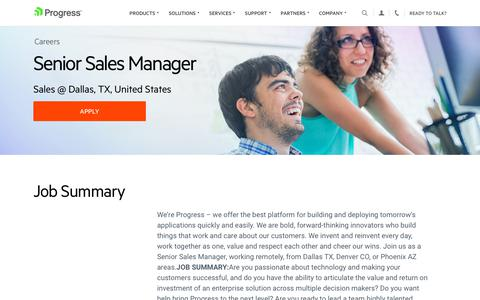 Screenshot of Jobs Page progress.com - Senior Sales Manager, Sales @ Dallas, TX, United States - Progress Careers - captured July 17, 2019