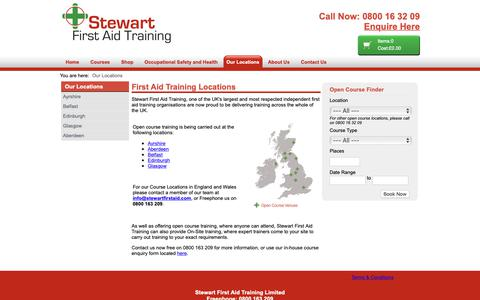 Screenshot of Locations Page Maps & Directions Page stewartfirstaid.com - First Aid Training Across the UK Stewart First Aid Training - captured Oct. 18, 2018