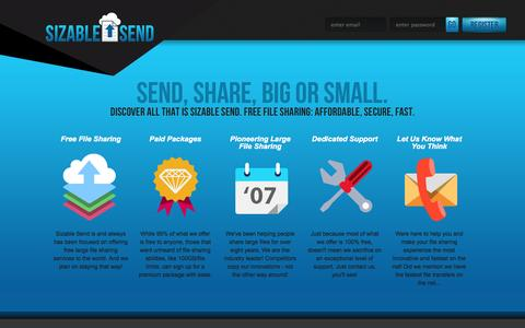 Screenshot of About Page sizablesend.com - About - SizableSend.com, Send Large Files FREE - captured Oct. 9, 2014