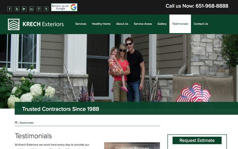 Screenshot of Testimonials Page krechexteriors.com - Testimonials | Krech Exteriors | Inver Grove Heights, MN - captured Sept. 20, 2018